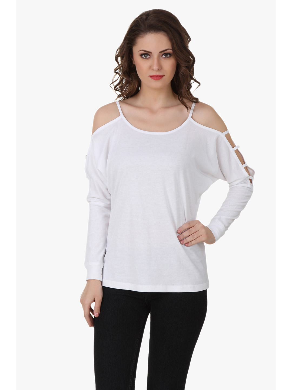 Texco Women White Solid Full sleeve Scoop neck Top