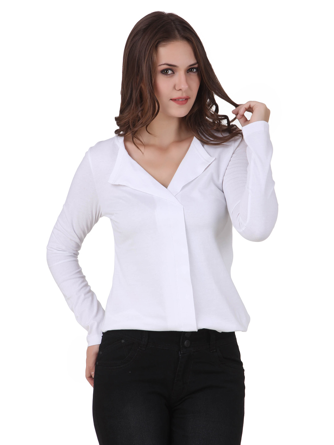 Texco Women White Solid Full sleeve V' neck Top