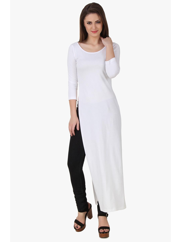 Texco Women White Solid 3/4 Sleeve Scoop neck Top