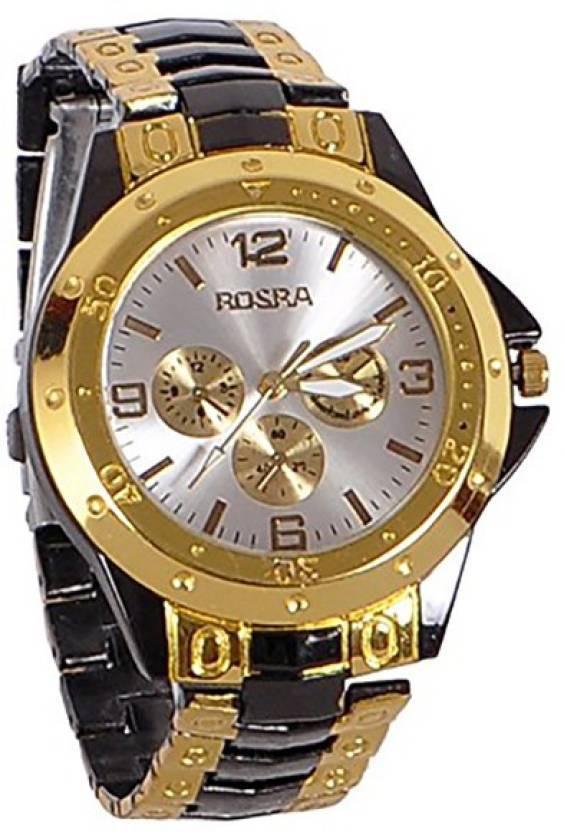 Rosra ss Golden Black Analog Watch