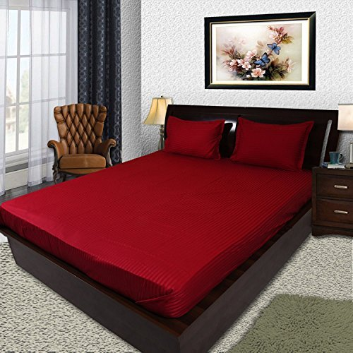 BhaiJis Elastic Fitted BedSheets King Size 300 TC Pure Cotton Satin  Stripes  Red   Fits Upto 10 Inch Thick Mattresses