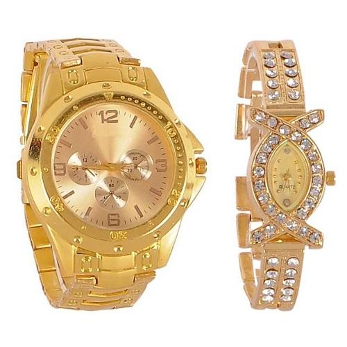 Varni Retail Full Gold Men And AKS Golden Diamond Women Couple Combo Watch For Couple