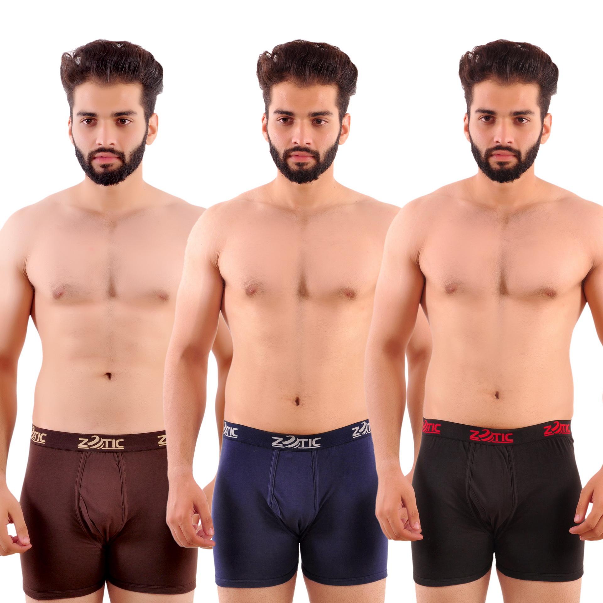 Zotic Men's Trunk'H' Underwear Pack Of 3  Brown,Navy,Red