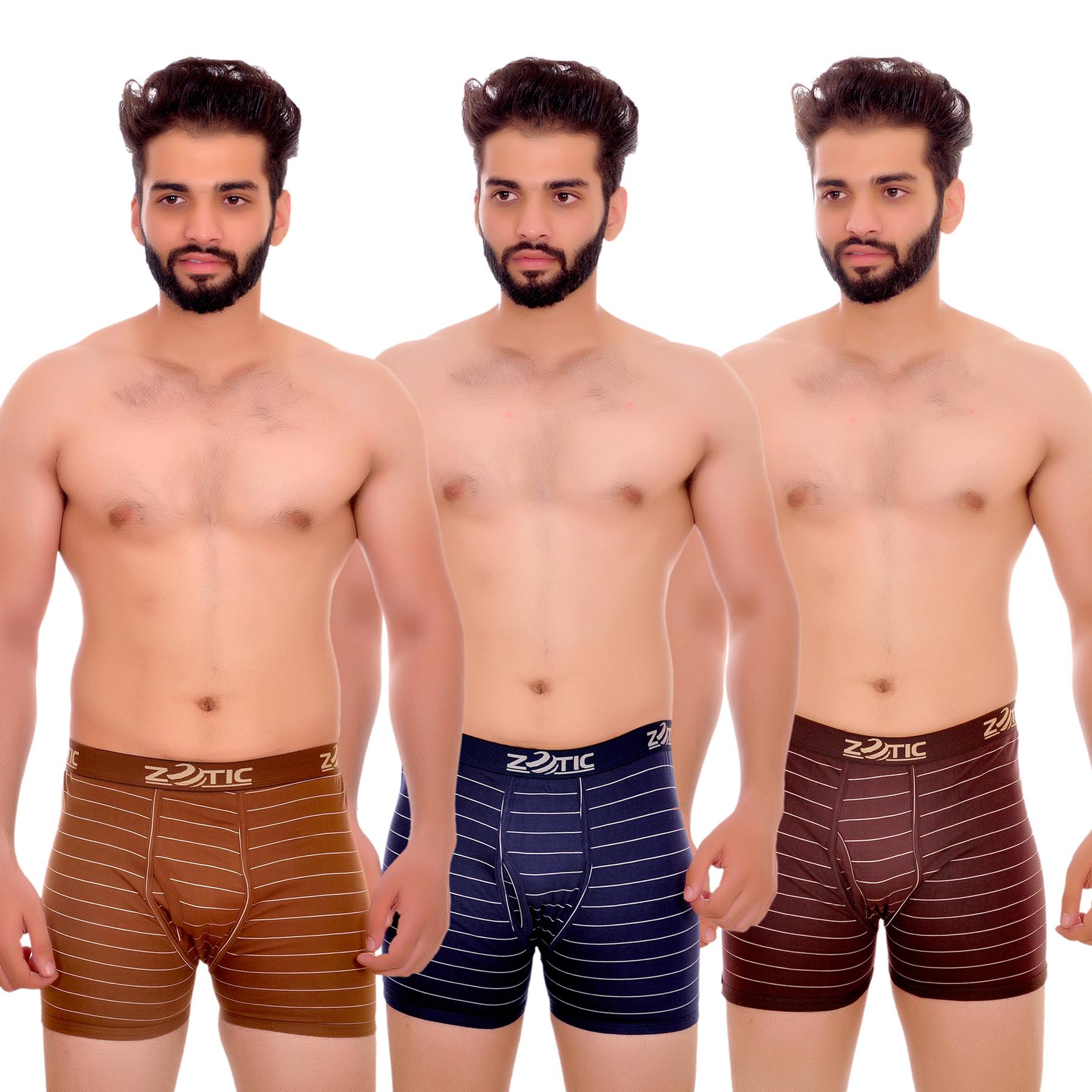 Zotic Men's Trunk'H' Underwear ST01   Pack Of 3