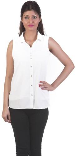 Gabby Women's White Solid Shirt Collar Crepe Sleeveless Regular Shirts