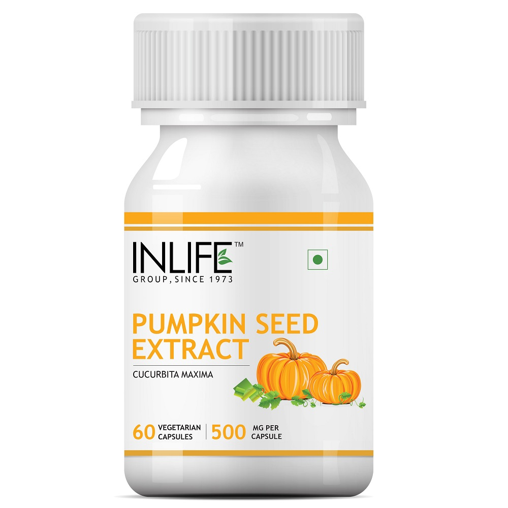INLIFE Pumpkin Seed Extract Supplement, 500 mg   60 Vegetarian Capsules