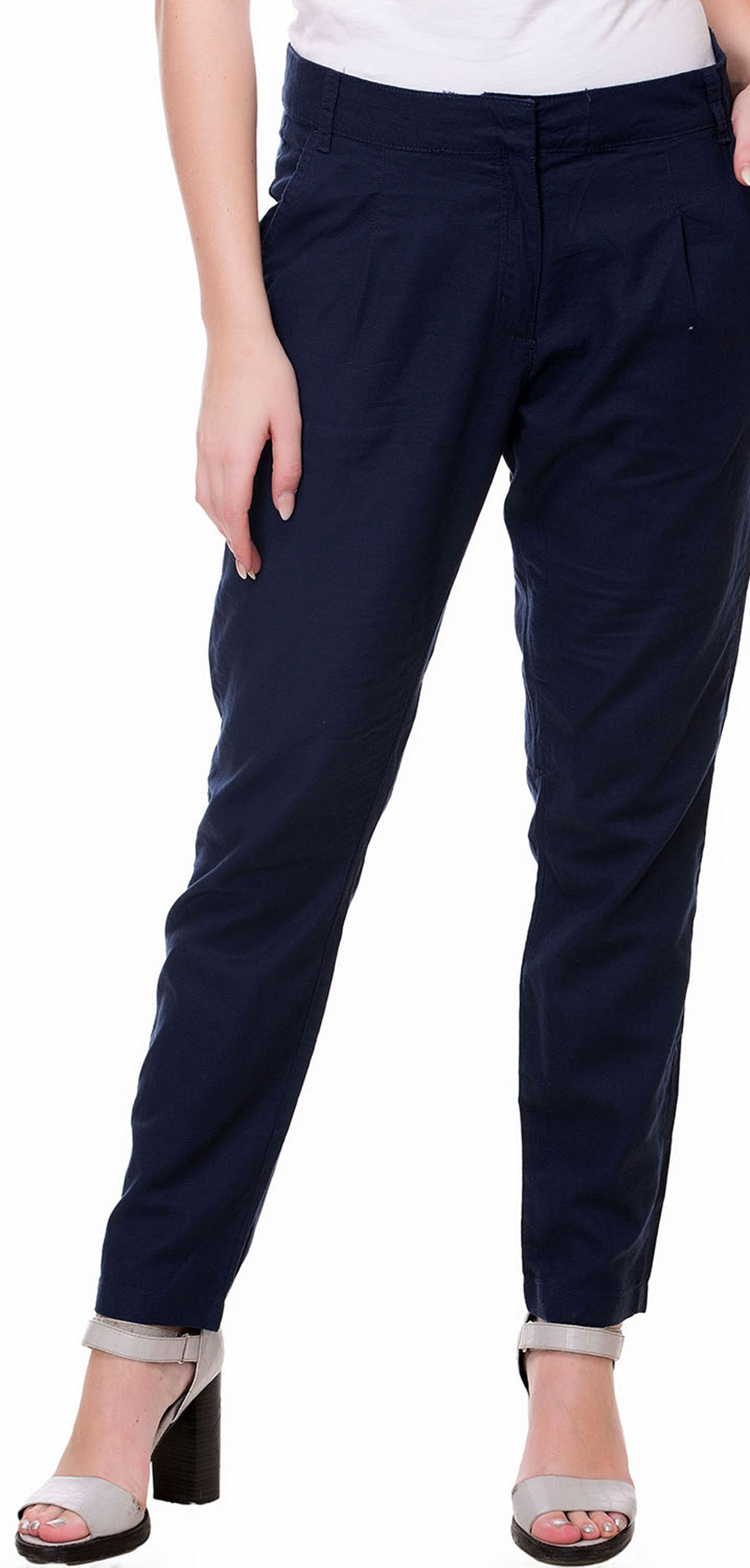 Kotty Regular Fit Women's Linen Dark Blue Trousers