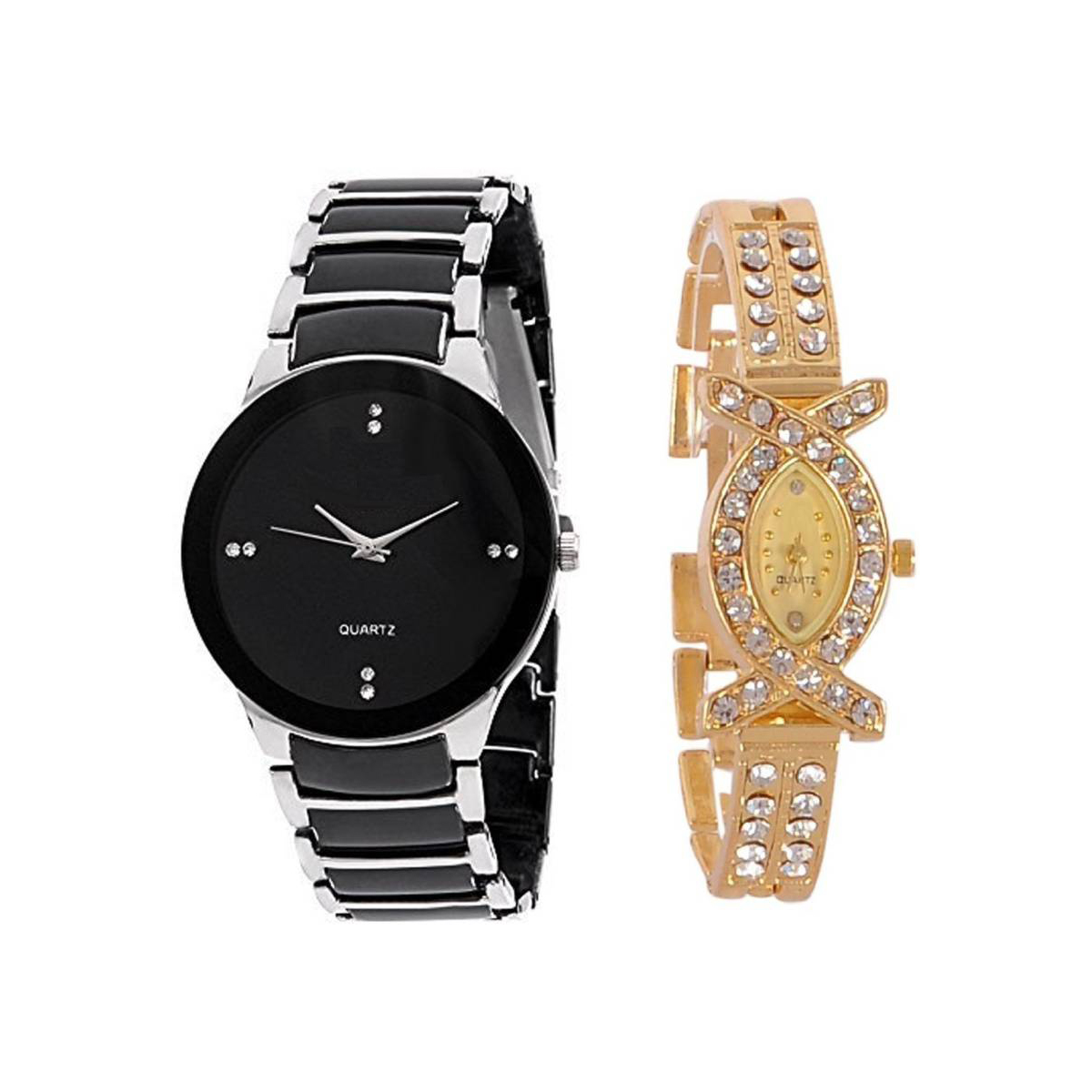 Varni Retail Silver Men And AKS Women Stylish Couple Combo Wrist Watch For Couple