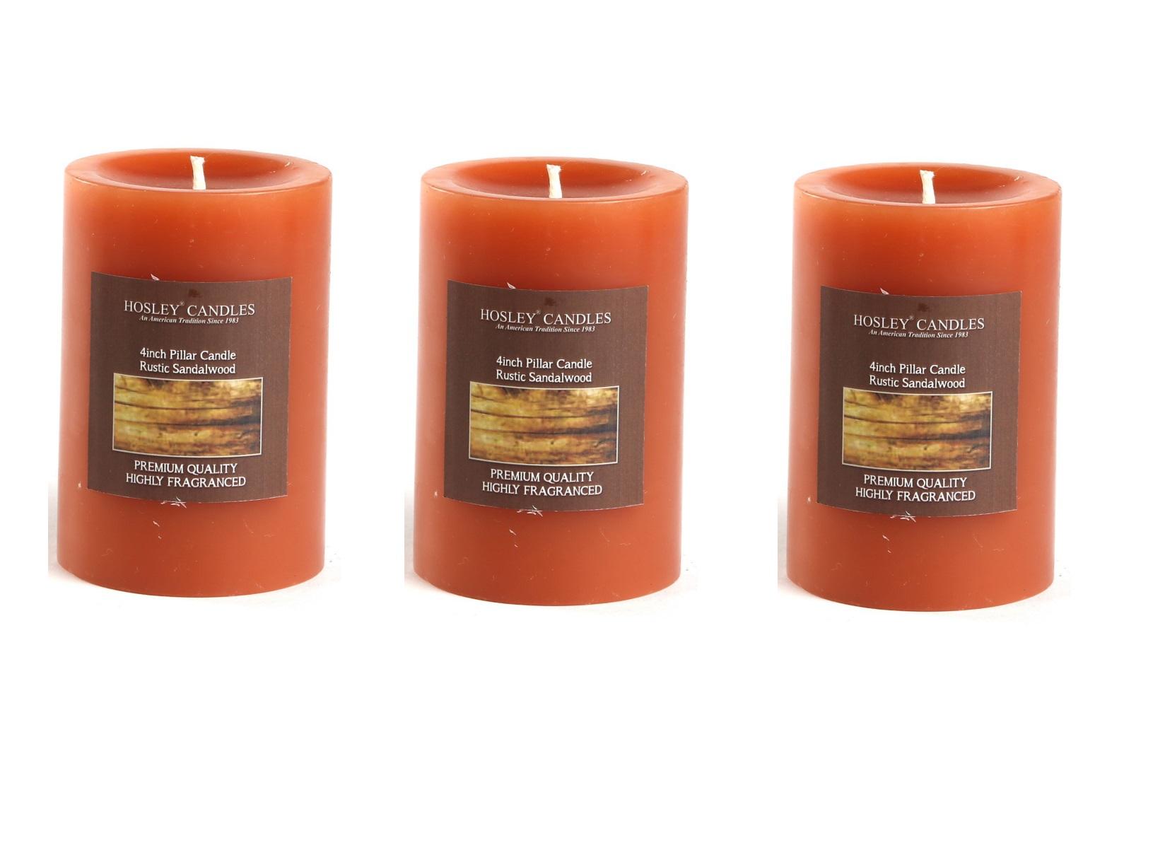 Hosley Set of 3 Rustic Sandalwood 4Inchs Pillar Candles