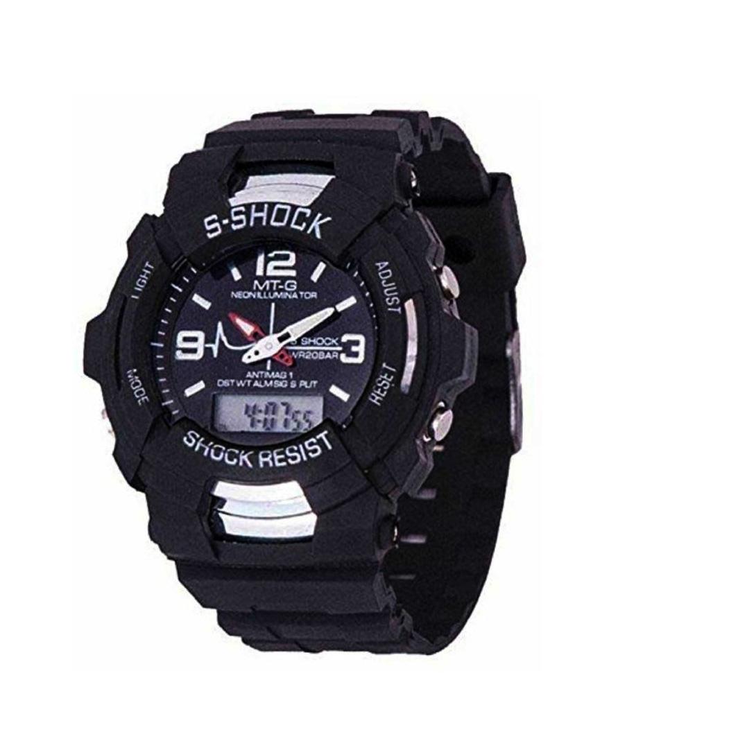 S Shock  MT G  Round Dial Analog And Digital Black Strap Quartz Watch for Men/Boys 6 month warranty