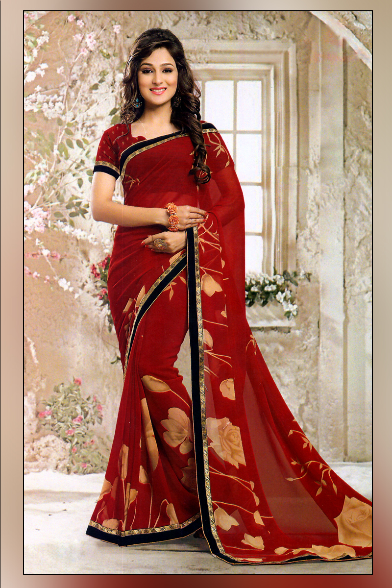 Olive Fashions Pure Georgette Saree Floral Print
