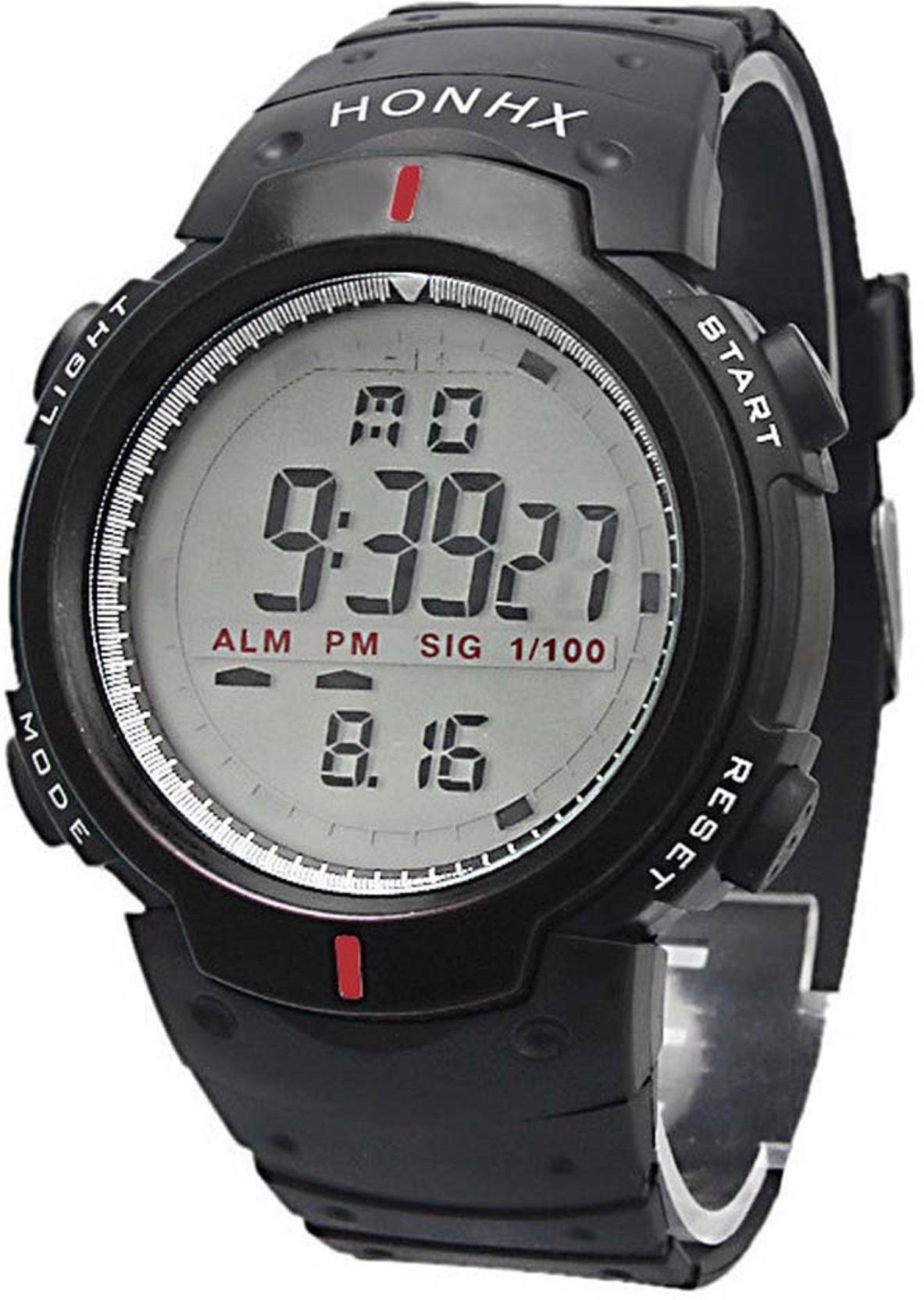 Hala Black Rubber Strap Waterproof Digital Watch   For Men