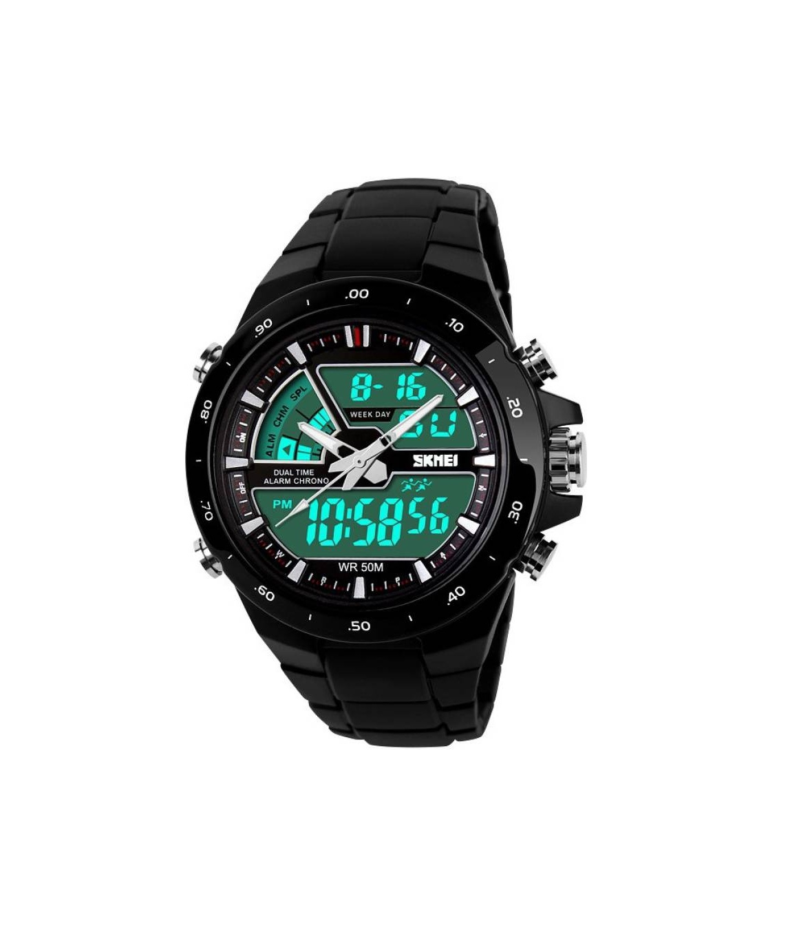 Skmei Black Quartz Digital With Analog Latest Best Looking Sport Watch For Men ,Boys 6 month warranty