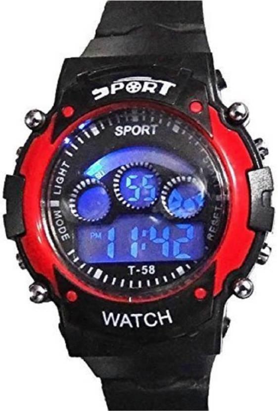 Hala Unisex Black Digital Sport Watch With Multi Colour Display