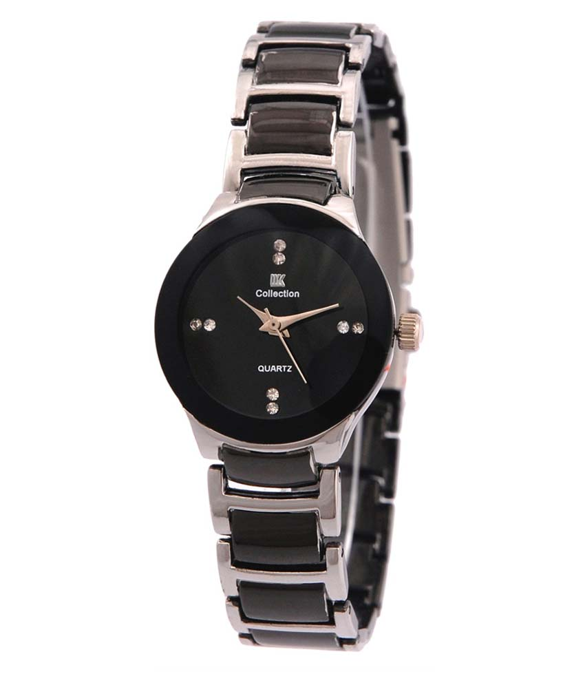 IIK Collection Silver and Black Analog Watch for woman 6 month waranty