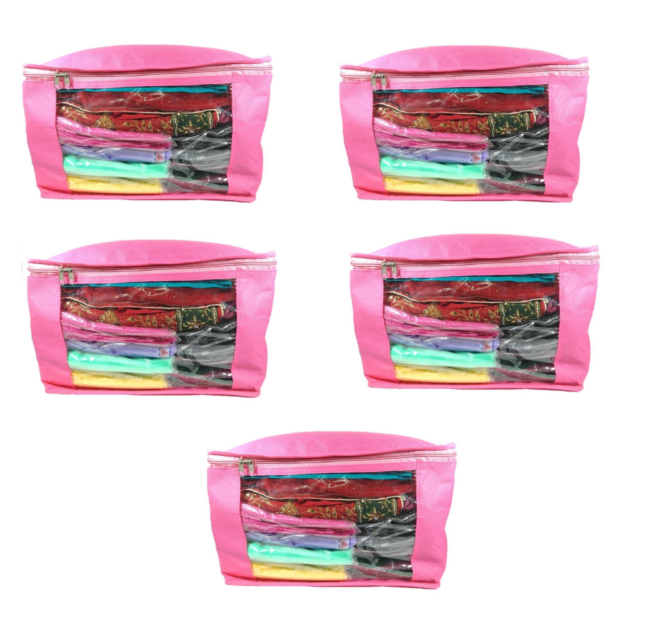 ADWITIYA Plain 10 Inch Ladies Large Non   Woven 5 Saree Cover Keep Upto 10   15 Sarees each  Pink
