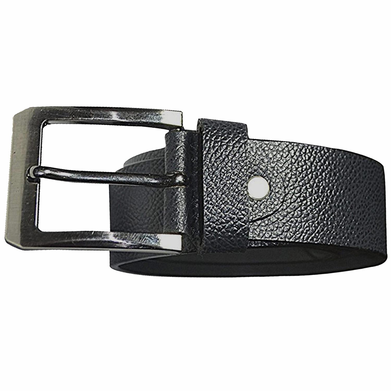 JusTrack Men Women Formal, Casual Black Genuine Leather, Metal Belt