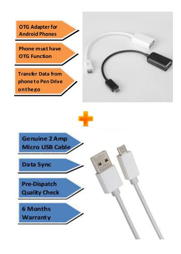 Pinnaclz Combo of Ultra Fast 2Amp Micro USB Charge Data Sync Cable 1m + OTG Adapter Micro USB  Assorted Colour