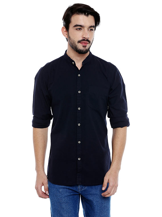 Roller Fashions Men's Solid Casual Blue Shirt