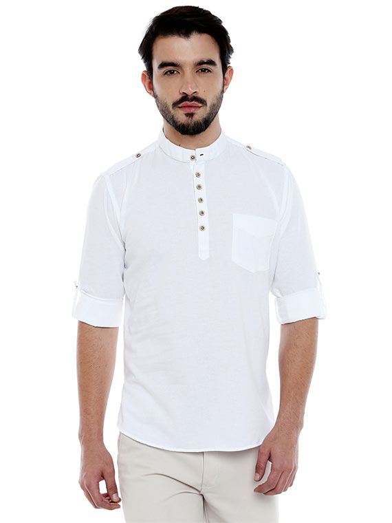 Roller Fashions Men's Solid Casual White Shirt