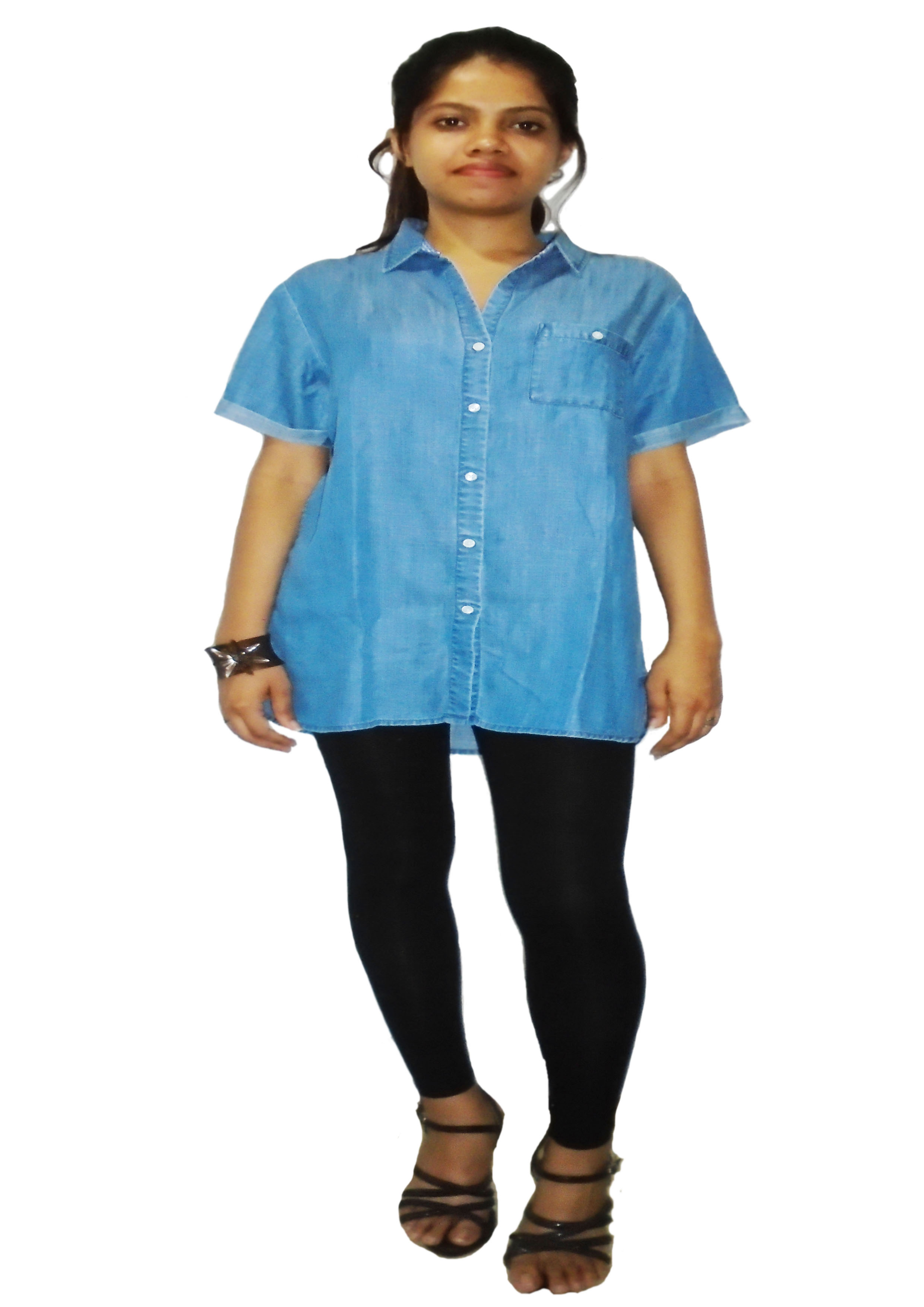 Tencel Denim Blue Washed Short Sleeve Girls Shirt