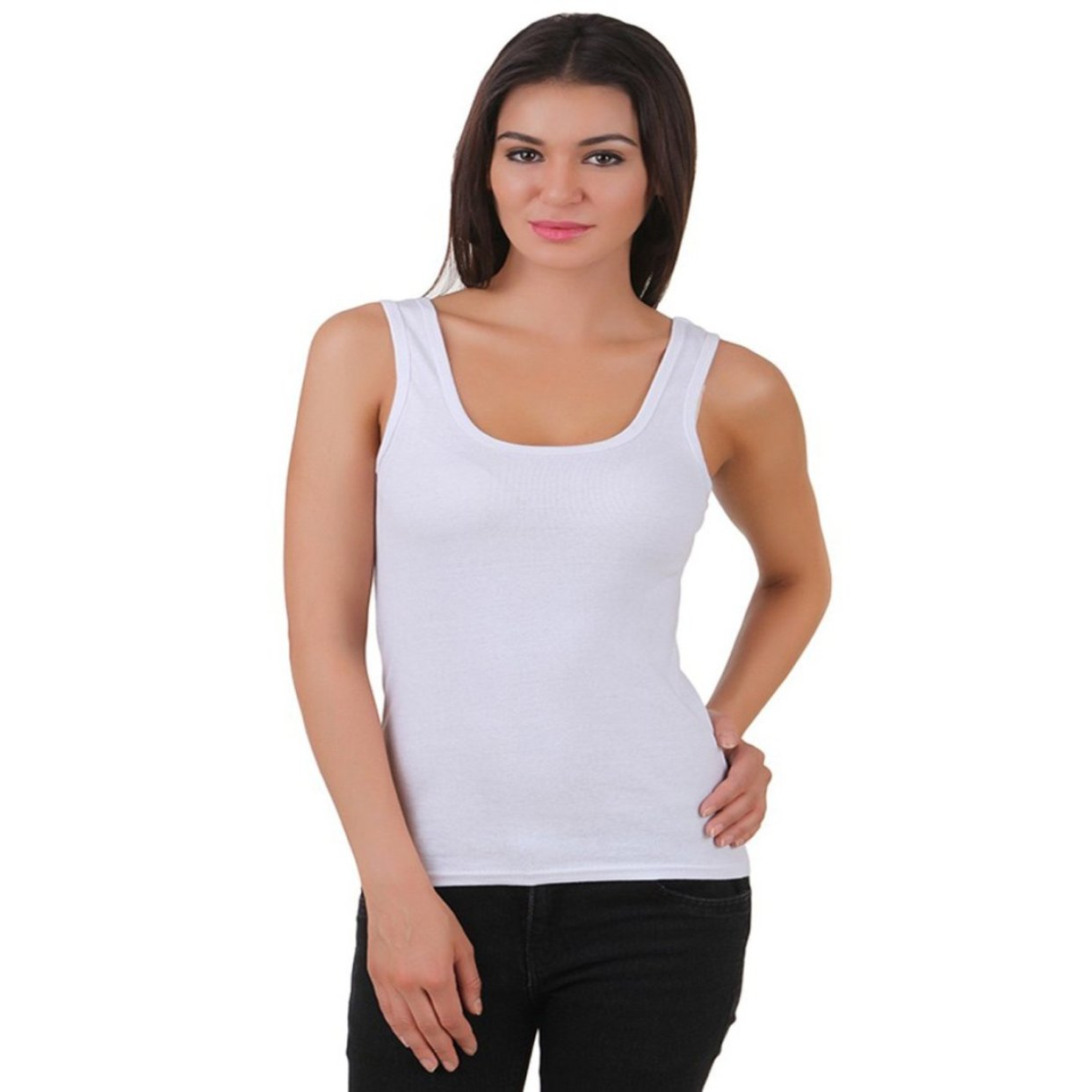 I Shop Casual Sleeveless Solid, Striped Women's White Top