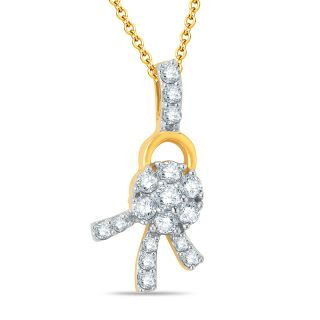 Pure Gold Jewellers 18kt Yellow gold Floral Cluster Pendants with 17pcs of 0.31cts Diamonds