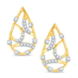 Pure Gold Jewellers 18kt Yellow Gold Pear Shape Diamond Earring with 40pcs of 0.24cts Diamonds
