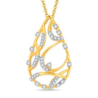 Pure Gold Jewellers 18kt Yellow Gold Pear Shape Diamond Pendant with 38pcs of 0.34cts Diamonds