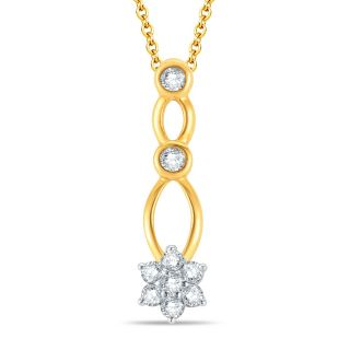Pure Gold Jewellers 18kt Yellow gold Floral Cluster Pendant with 9pcs of 0.18cts Diamonds