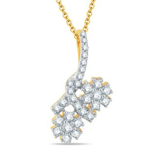Pure Gold Jewellers 18kt Yellow gold Floral Cluster Pendants with 30pcs of 0.30cts Diamonds