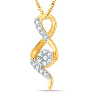 Pure Gold Jewellers 18kt Yellow gold Pressure Set Cluster Pendant with 15pcs of 0.20cts Diamonds