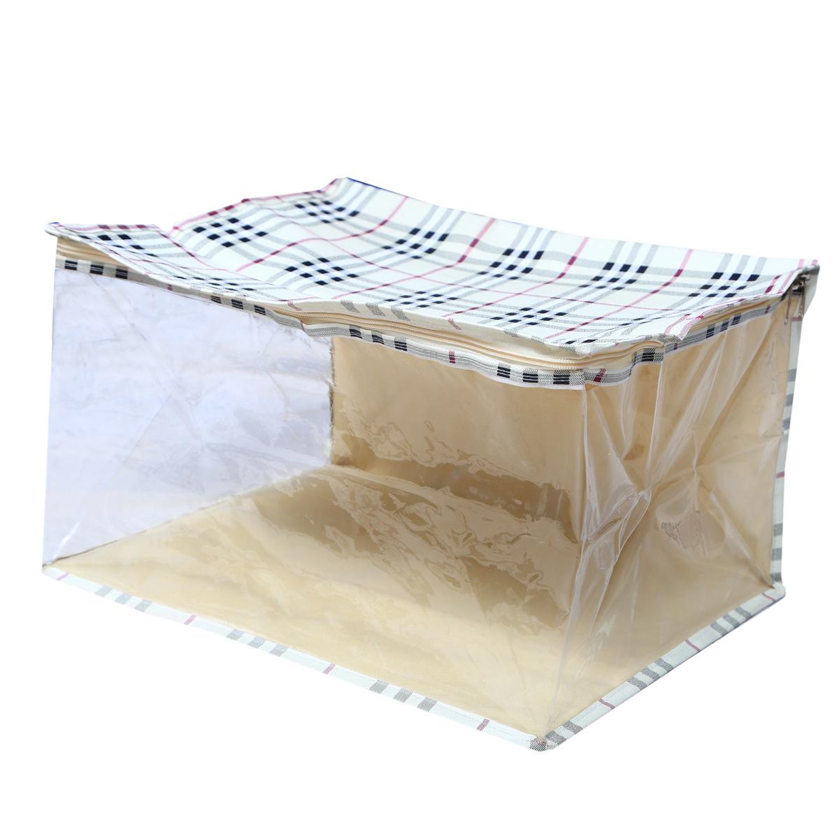 Kuber Industries Extra Large Saree Cover,Saree Bag,Regular Cloth Bag, Wardrobe Organiser Set of 4 Pcs  Cream  Waterproof Fabric