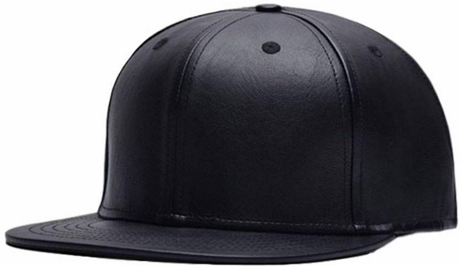 MOCOMO Leather Hiphop Cap Solid Black Cap Hat For Men Women Boys Girls