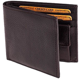 Men Brown Artificial Leather Money Clip  8 Card Slots   Synthetic leather/Rexine