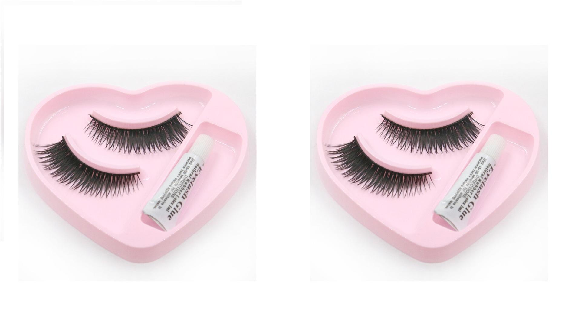 2pcs heart shape fake false eyelashes with white glue