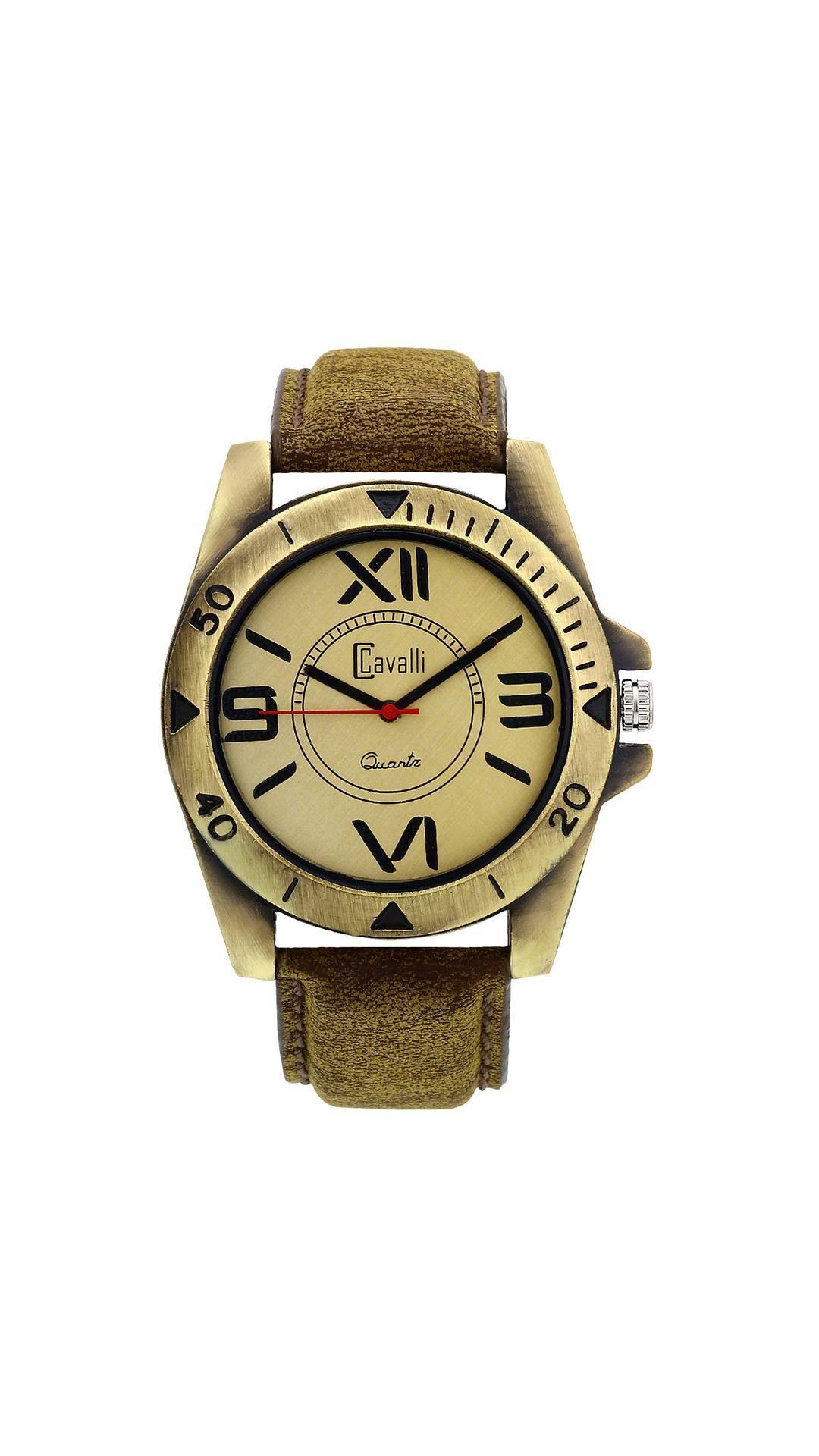 Cavalli Designer   Stylish Antique Gold Analog Watch for Men