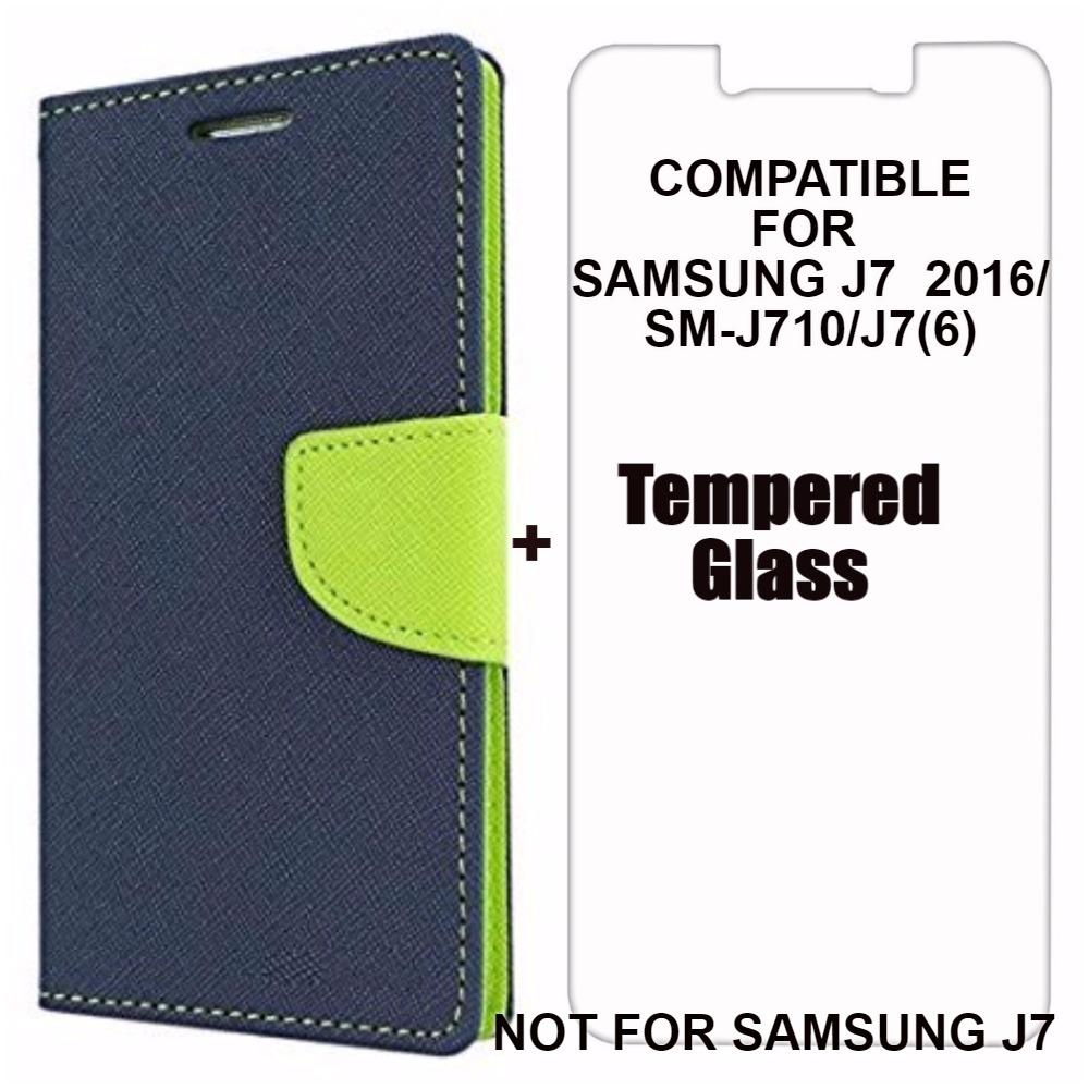 Mobimon Mercury Wallet Dairy Flip Cover for Samsung Galaxy J7 6  / J7  2016  / J710 Premium Quality Blue +Tempered Glass
