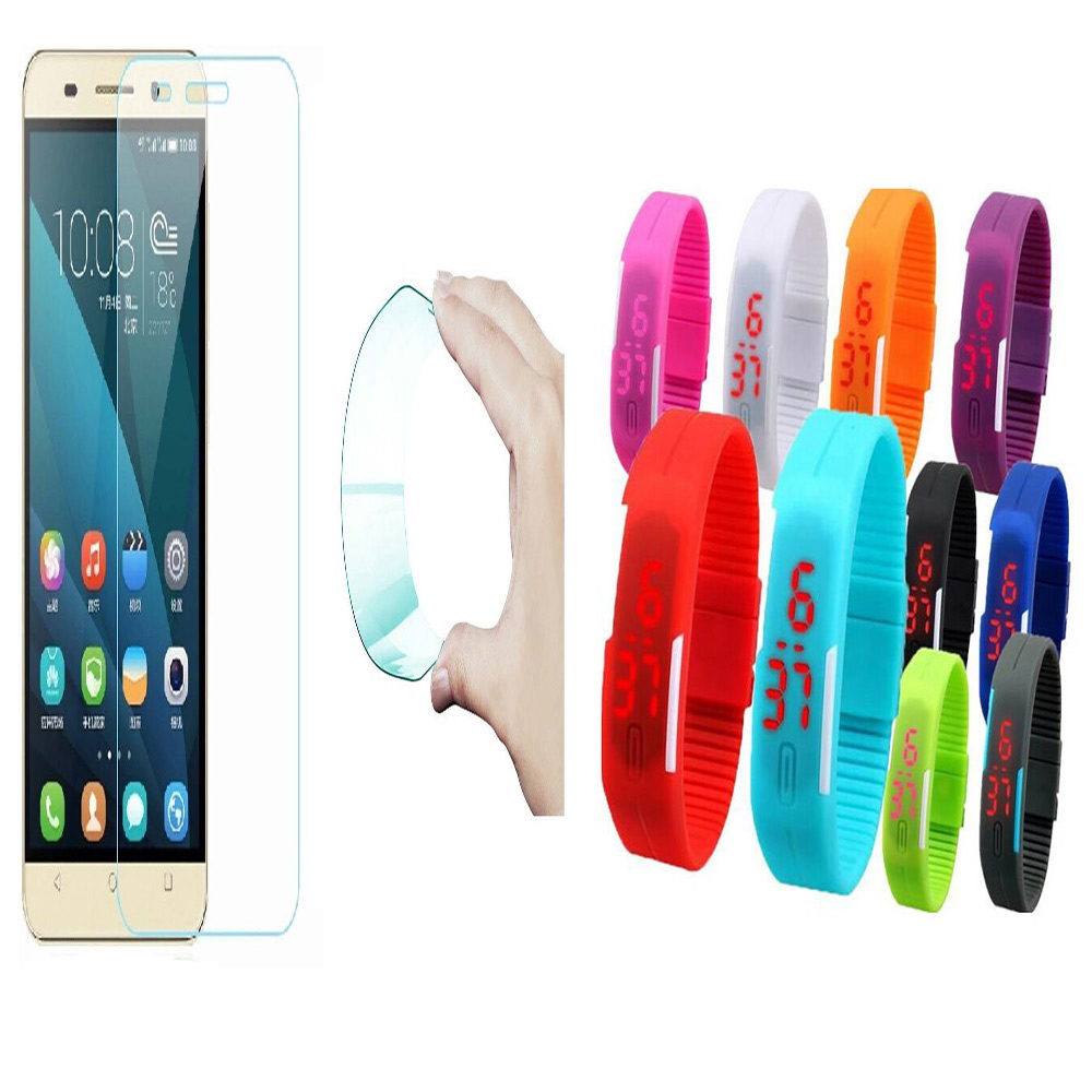 Huawei Honor 6X 03mm Curved Edge HD Flexible Tempered Glass with Waterproof LED Watch