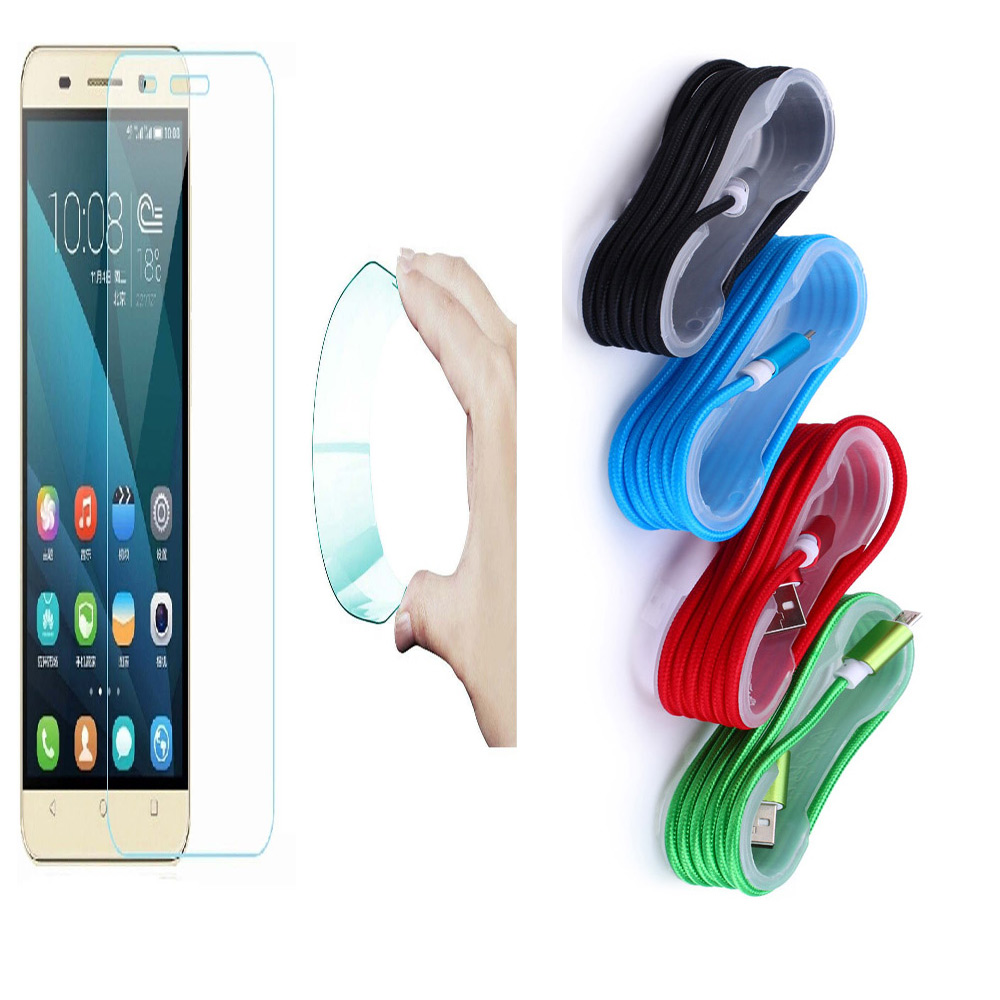Motorola Moto Z2 Play 03mm Curved Edge HD Flexible Tempered Glass with Nylon Micro USB Cable