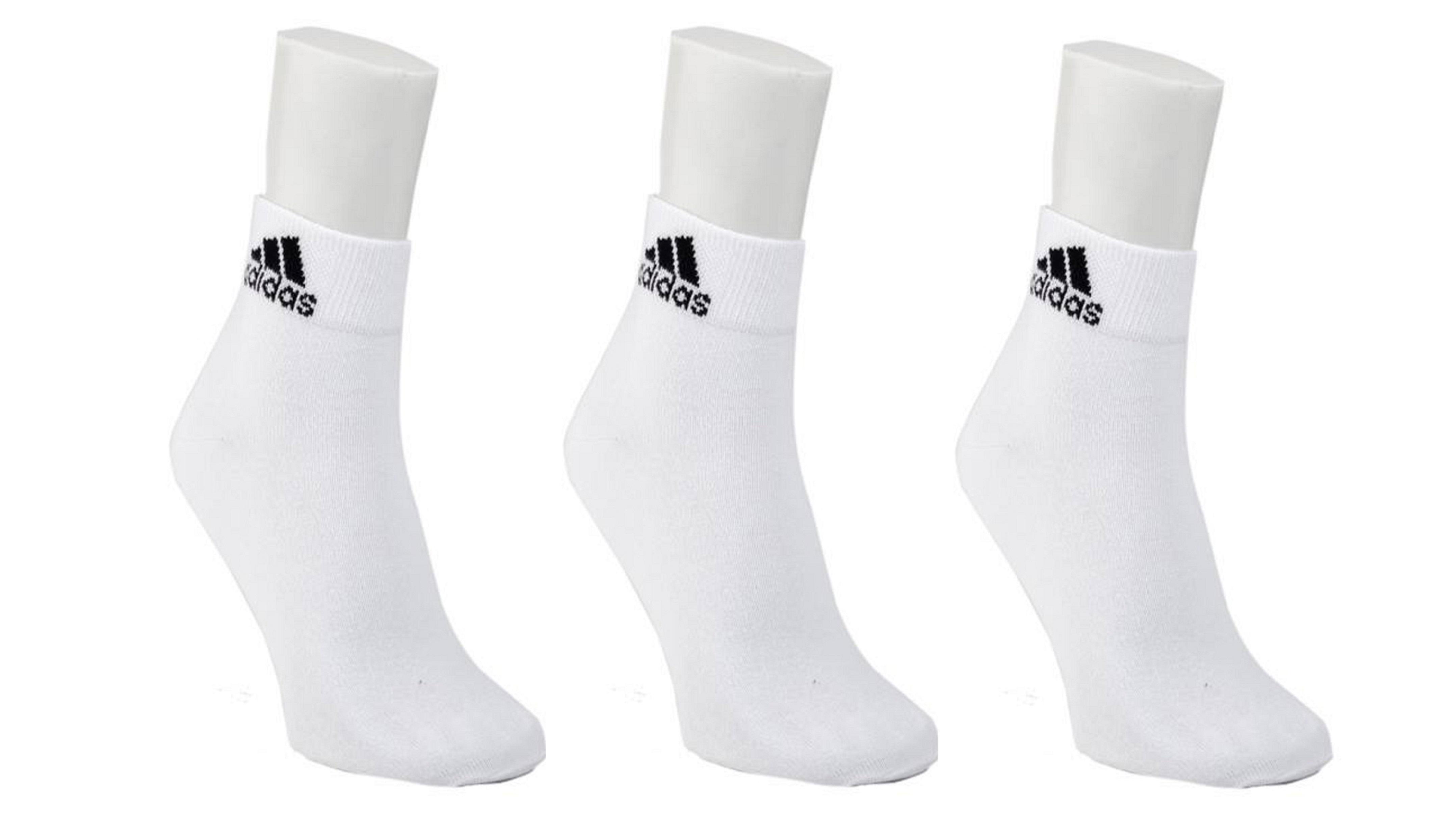 Adidas White Cotton Ankle Length Socks   3 Pairs