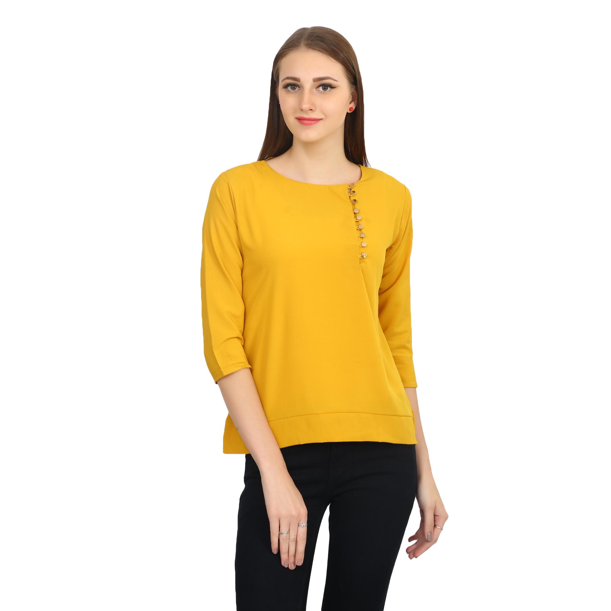 Funku Fashion Casual 3/4th Sleeve Solid Women\'s Yellow Top