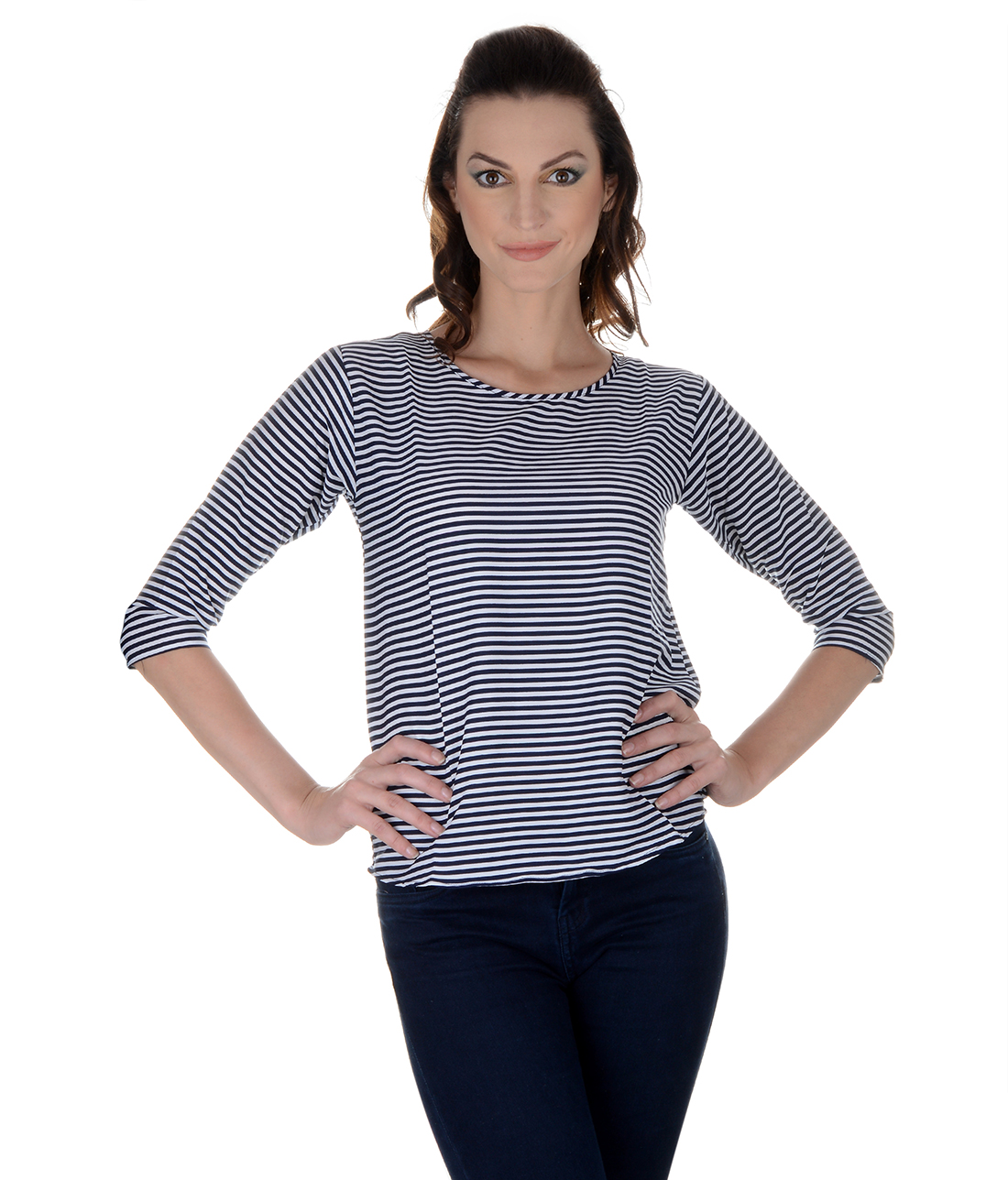 Funku Fashion Casual 3/4th Sleeve Striped Women's Black, White Top
