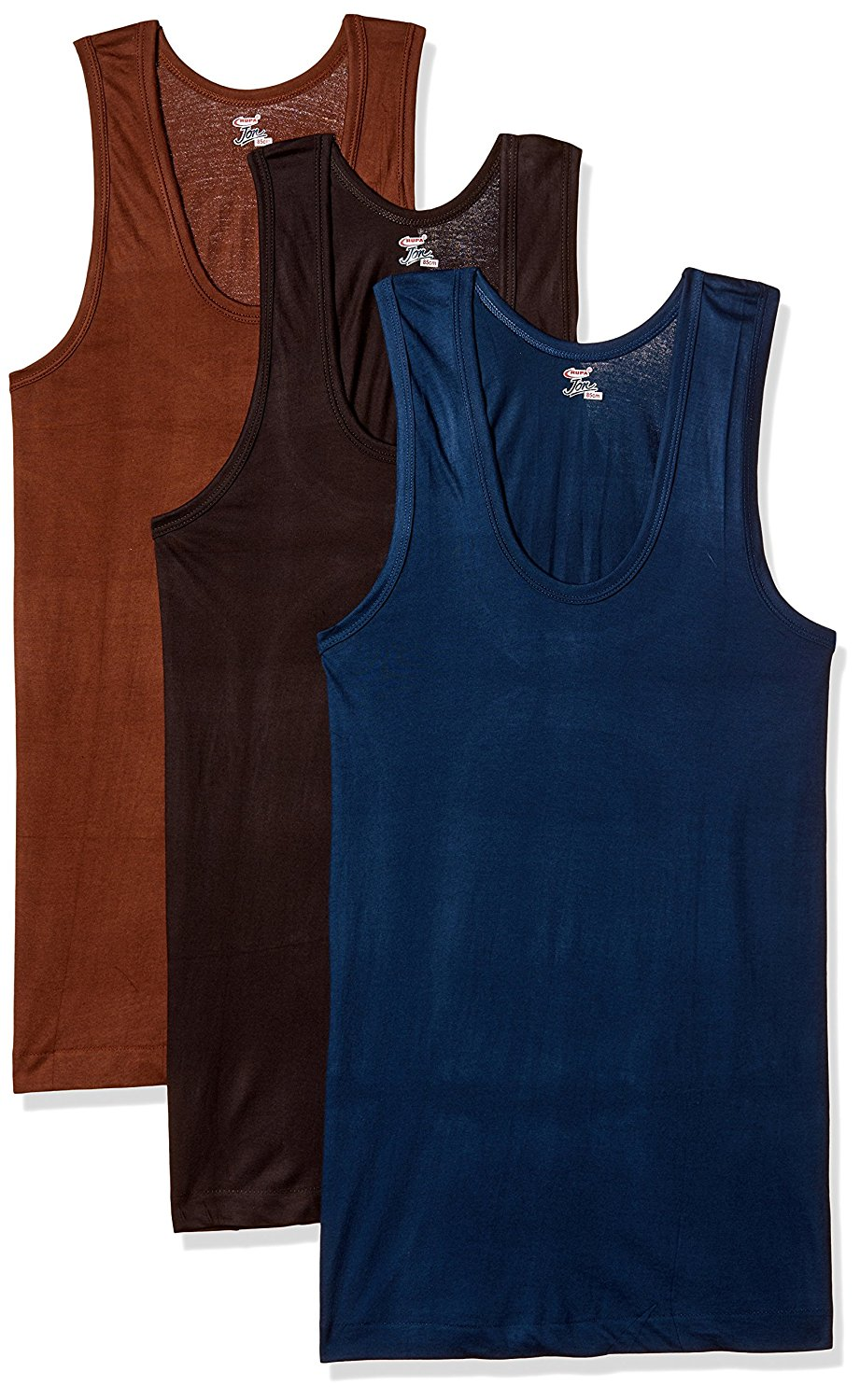 RUPA JON Men's Colour Cotton Vest  Pack of 3   Colors May Vary
