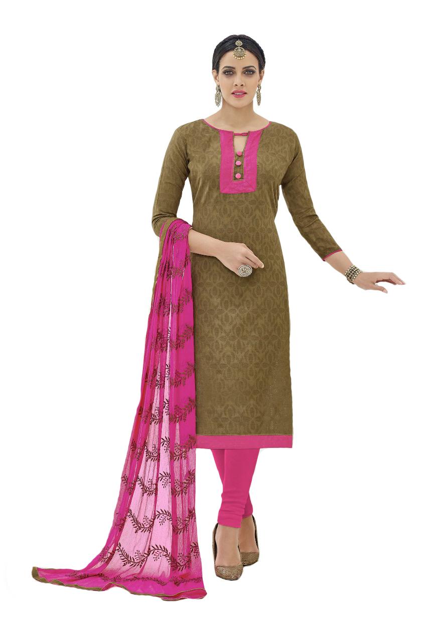 Designer Embroidered Cotton Jacquard Unstitched Dress Material For Chudidar Salwar Kameez Suit With Dupatta Embroidery Work