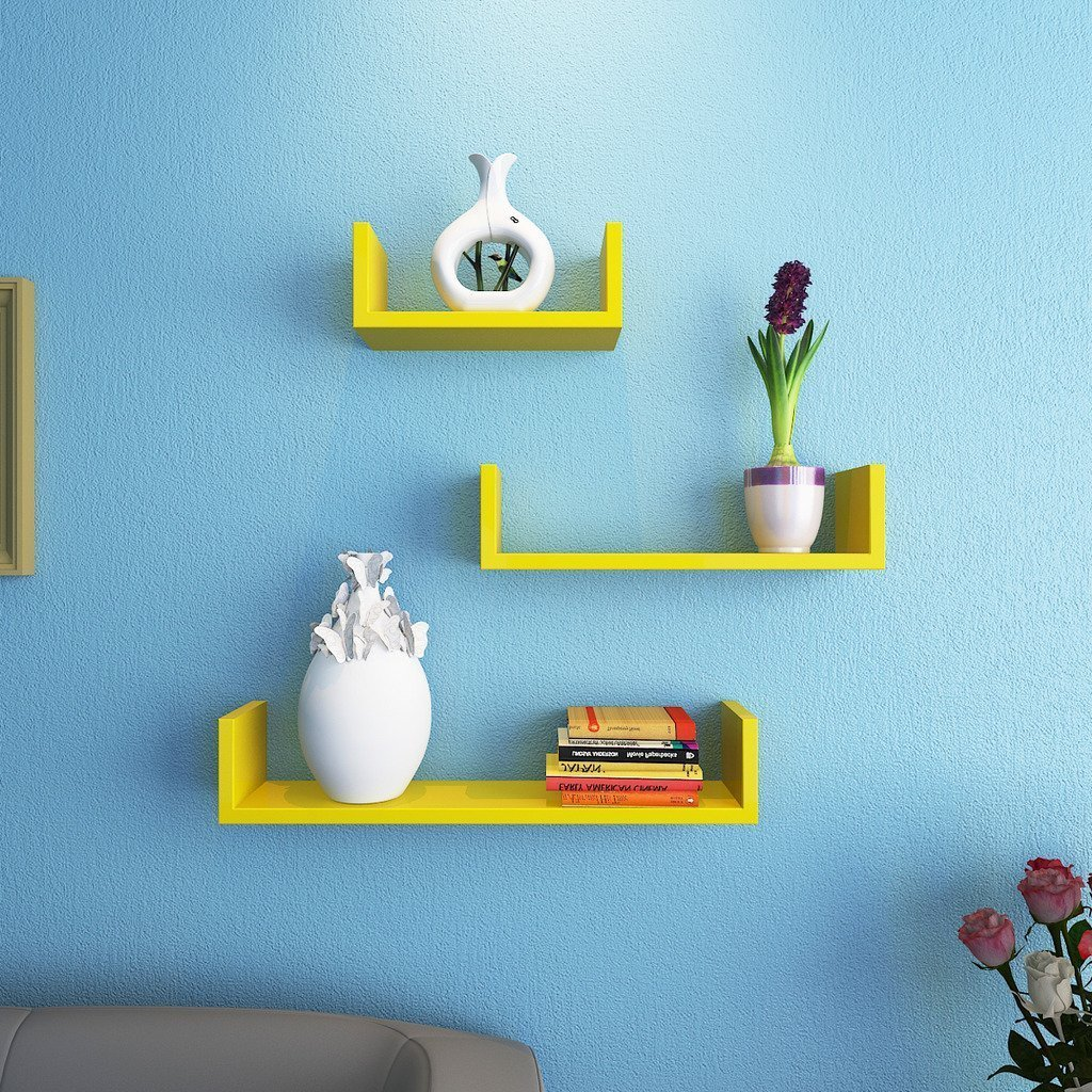 Shilpi Handicraft Wall Decor Designer Wall Shelf Of 3 PCs / Wooden Yellow Colour Wall Shelf