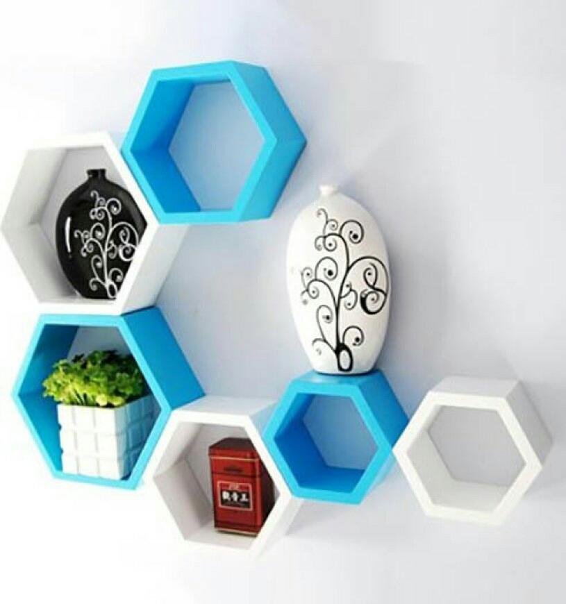 sunshinewood utlilty wall shelf haxagon no of 6 shelves   white blue