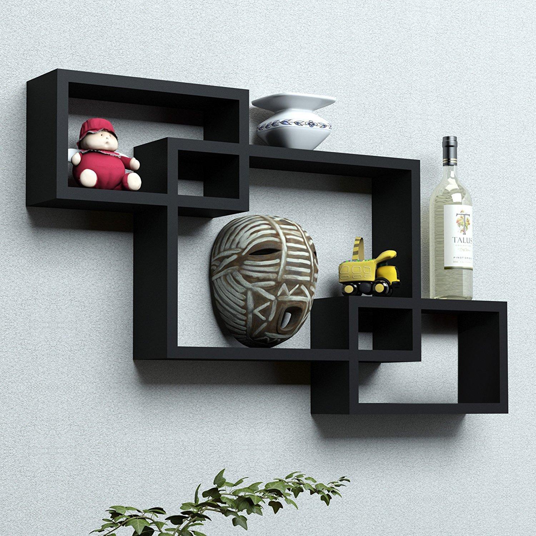 sunshinewood wooden black Intersecting home storage wall shelf rack  black