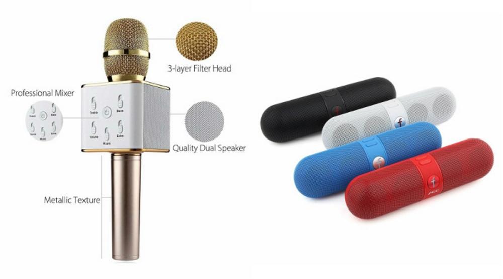Mirza Q7 Portable Wireless Karaoke Microphone Handheld Condenser Microphone Inbuilt Speaker Microphone and bluetooth speaker  Facebook Speaker ,Facebook Portable Bluetooth Mobile/Tablet Speaker   for XOLO PLAY T 1000