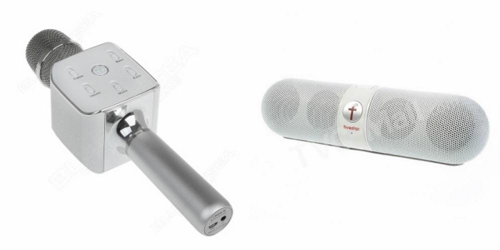 Mirza Q7 Portable Wireless Karaoke Microphone Handheld Condenser Microphone Inbuilt Speaker Microphone and bluetooth speaker  Facebook Speaker ,Facebook Portable Bluetooth Mobile/Tablet Speaker   for Apple Iphone 7